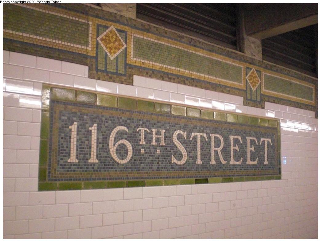 (239k, 1044x788)<br><b>Country:</b> United States<br><b>City:</b> New York<br><b>System:</b> New York City Transit<br><b>Line:</b> IRT East Side Line<br><b>Location:</b> 116th Street<br><b>Photo by:</b> Roberto C. Tobar<br><b>Date:</b> 3/6/2009<br><b>Notes:</b> Station name mosaic.<br><b>Viewed (this week/total):</b> 3 / 2059