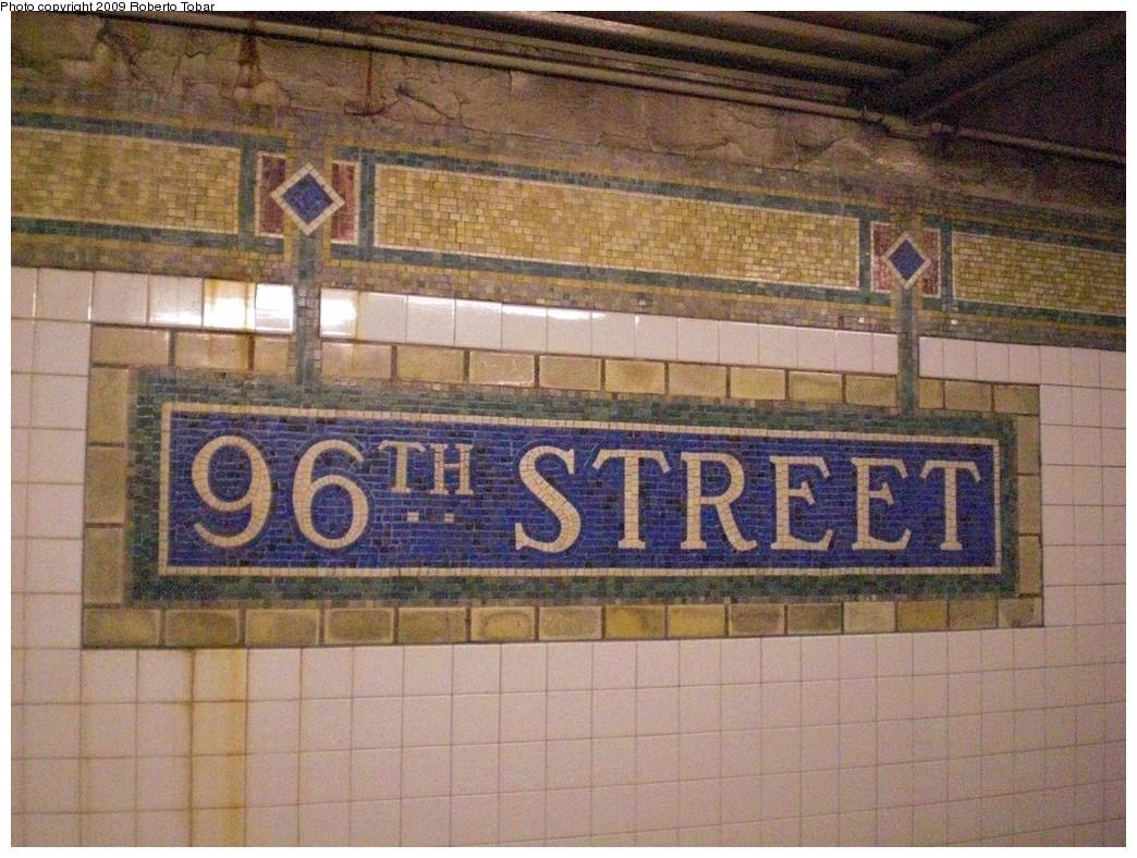 (289k, 1044x788)<br><b>Country:</b> United States<br><b>City:</b> New York<br><b>System:</b> New York City Transit<br><b>Line:</b> IRT East Side Line<br><b>Location:</b> 96th Street<br><b>Photo by:</b> Roberto C. Tobar<br><b>Date:</b> 3/6/2009<br><b>Notes:</b> Station name mosaic.<br><b>Viewed (this week/total):</b> 0 / 1280