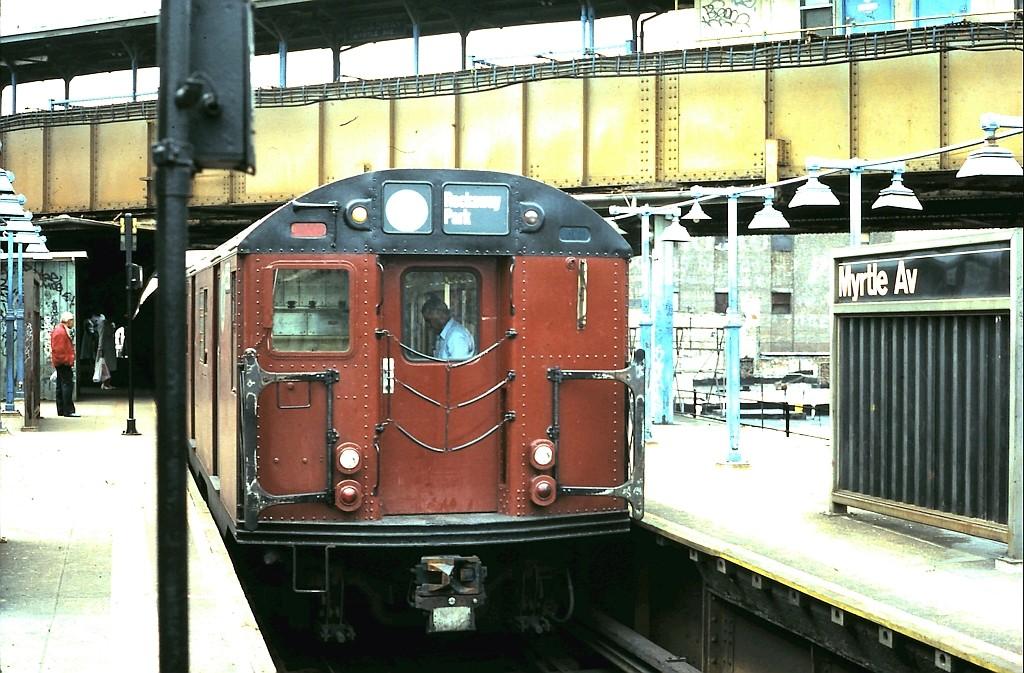 (219k, 1024x673)<br><b>Country:</b> United States<br><b>City:</b> New York<br><b>System:</b> New York City Transit<br><b>Line:</b> BMT Nassau Street-Jamaica Line<br><b>Location:</b> Myrtle Avenue<br><b>Route:</b> L reroute?<br><b>Car:</b> R-30 (St. Louis, 1961)  <br><b>Collection of:</b> John Barnes<br><b>Date:</b> 6/7/1987<br><b>Viewed (this week/total):</b> 4 / 4762
