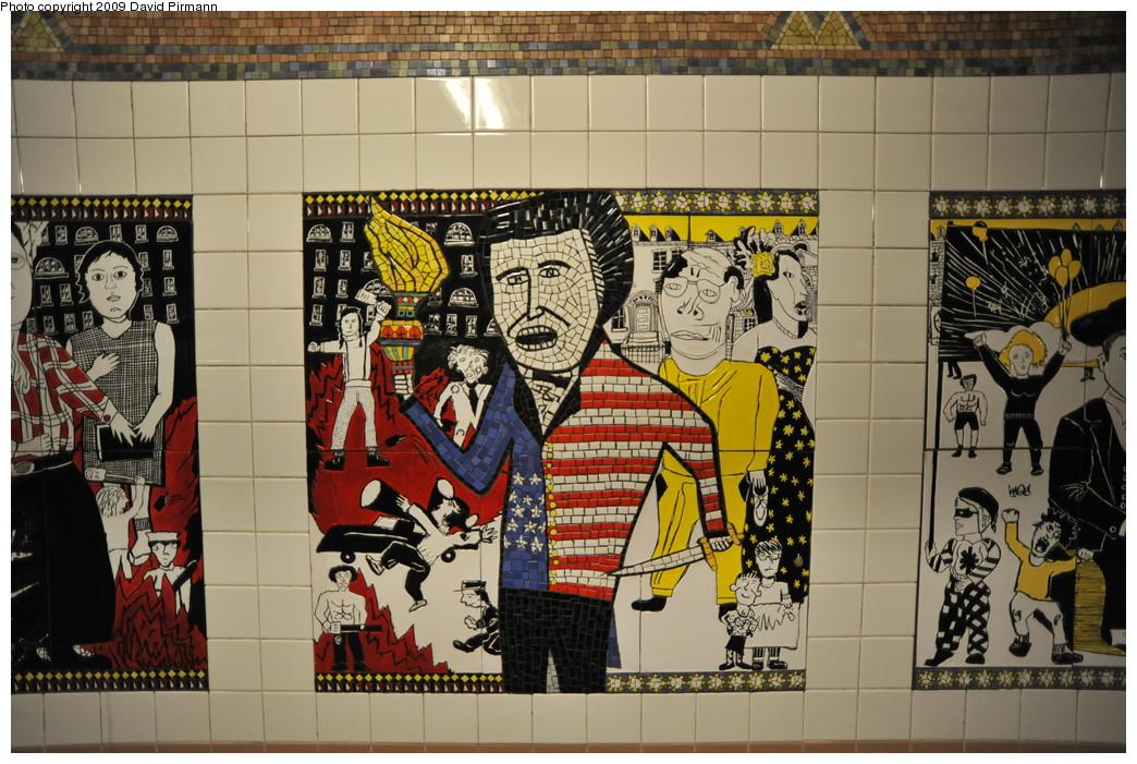 (308k, 1044x701)<br><b>Country:</b> United States<br><b>City:</b> New York<br><b>System:</b> New York City Transit<br><b>Line:</b> IRT West Side Line<br><b>Location:</b> Christopher Street/Sheridan Square<br><b>Photo by:</b> David Pirmann<br><b>Date:</b> 3/15/2009<br><b>Artwork:</b> <i>The Greenwich Village Murals</i>, Lee Brozgol, 1994<br><b>Viewed (this week/total):</b> 5 / 2439