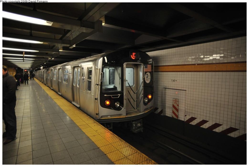 (214k, 1044x701)<br><b>Country:</b> United States<br><b>City:</b> New York<br><b>System:</b> New York City Transit<br><b>Line:</b> IND 8th Avenue Line<br><b>Location:</b> 14th Street<br><b>Route:</b> E<br><b>Car:</b> R-160A (Option 1) (Alstom, 2008-2009, 5 car sets) 9333 <br><b>Photo by:</b> David Pirmann<br><b>Date:</b> 3/15/2009<br><b>Viewed (this week/total):</b> 0 / 1883
