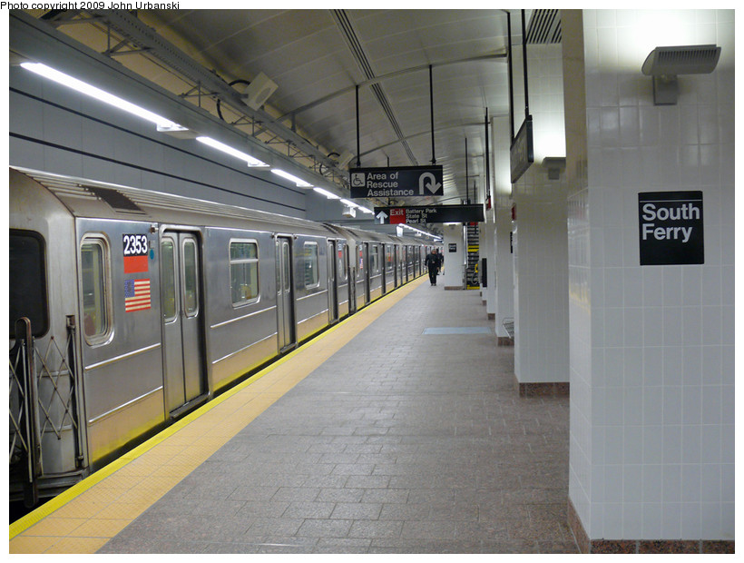 (174k, 820x620)<br><b>Country:</b> United States<br><b>City:</b> New York<br><b>System:</b> New York City Transit<br><b>Line:</b> IRT West Side Line<br><b>Location:</b> South Ferry (New Station)<br><b>Route:</b> 1<br><b>Car:</b> R-62A (Bombardier, 1984-1987) 2353 <br><b>Photo by:</b> John Urbanski<br><b>Date:</b> 3/16/2009<br><b>Viewed (this week/total):</b> 2 / 2050
