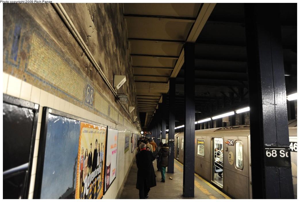 (196k, 1044x702)<br><b>Country:</b> United States<br><b>City:</b> New York<br><b>System:</b> New York City Transit<br><b>Line:</b> IRT East Side Line<br><b>Location:</b> 68th Street<br><b>Route:</b> 6<br><b>Car:</b> R-142A (Primary Order, Kawasaki, 1999-2002) 7247 <br><b>Photo by:</b> Richard Panse<br><b>Date:</b> 3/17/2009<br><b>Viewed (this week/total):</b> 1 / 2664
