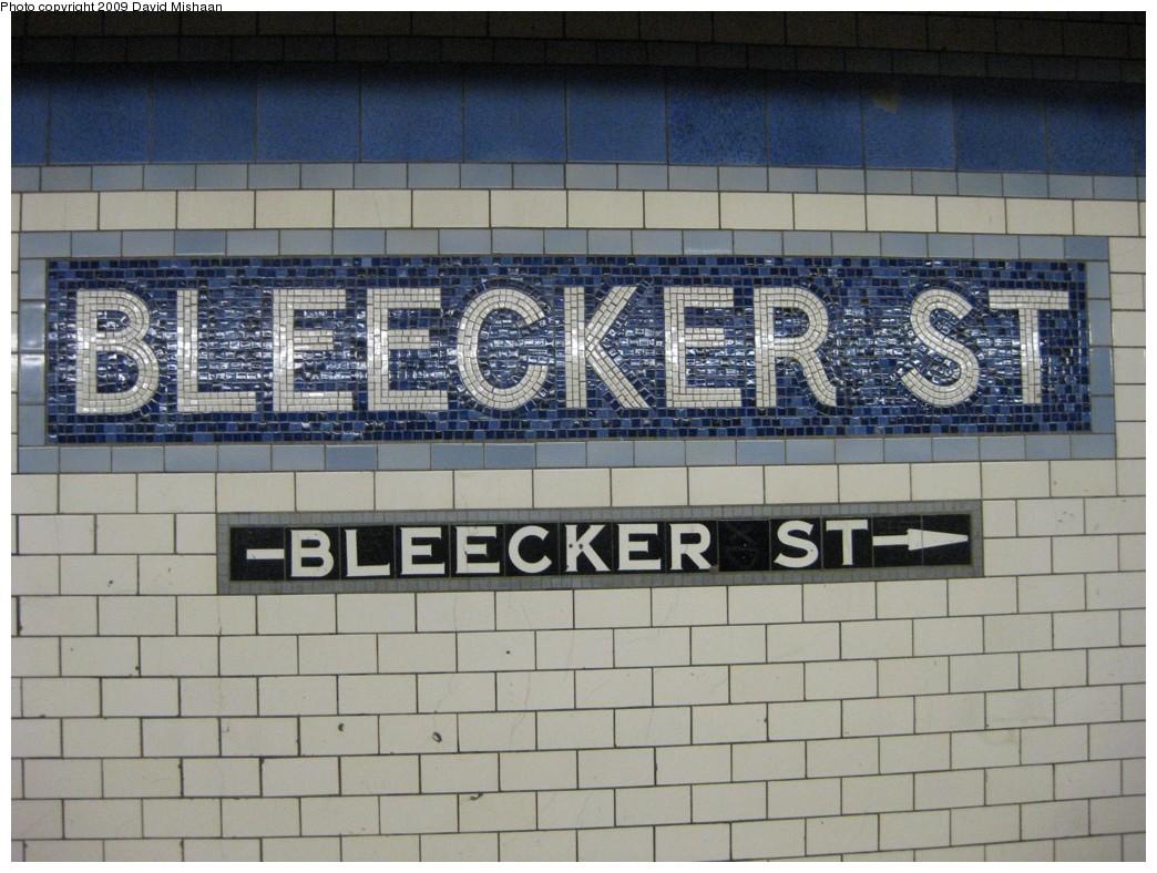 (206k, 1044x788)<br><b>Country:</b> United States<br><b>City:</b> New York<br><b>System:</b> New York City Transit<br><b>Line:</b> IRT East Side Line<br><b>Location:</b> Bleecker Street<br><b>Photo by:</b> David M. <br><b>Date:</b> 2/19/2009<br><b>Notes:</b> Mosaic tile.<br><b>Viewed (this week/total):</b> 3 / 1602