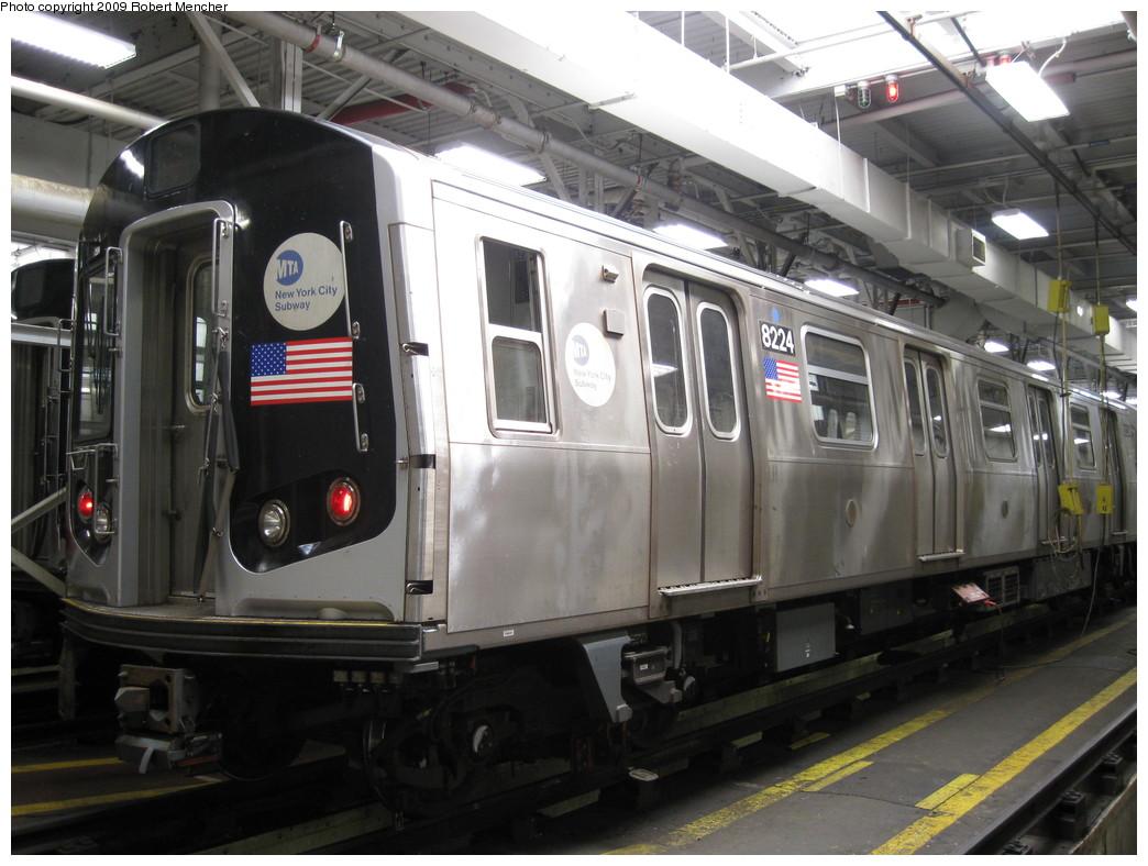 (205k, 1044x788)<br><b>Country:</b> United States<br><b>City:</b> New York<br><b>System:</b> New York City Transit<br><b>Location:</b> East New York Yard/Shops<br><b>Car:</b> R-143 (Kawasaki, 2001-2002) 8224 <br><b>Photo by:</b> Robert Mencher<br><b>Date:</b> 3/23/2009<br><b>Viewed (this week/total):</b> 2 / 1200