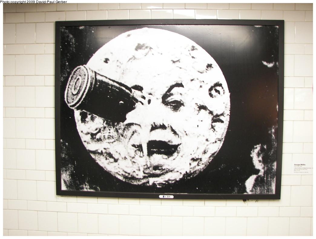 (209k, 1044x788)<br><b>Country:</b> United States<br><b>City:</b> New York<br><b>System:</b> New York City Transit<br><b>Line:</b> IRT Brooklyn Line<br><b>Location:</b> Atlantic Avenue<br><b>Photo by:</b> David-Paul Gerber<br><b>Date:</b> 3/11/2009<br><b>Artwork:</b> <i>MoMA Atlantic/Pacific</i>, artist unknown, 2009<br><b>Notes:</b> Georges Melies, <i>A Trip to The Moon (Le Voyage dans la Lune)</i> (1902 film still)<br><b>Viewed (this week/total):</b> 1 / 1805