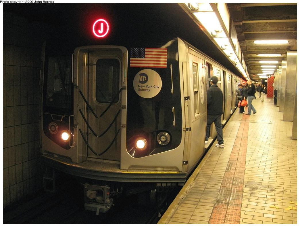 (243k, 1044x788)<br><b>Country:</b> United States<br><b>City:</b> New York<br><b>System:</b> New York City Transit<br><b>Line:</b> BMT Nassau Street-Jamaica Line<br><b>Location:</b> Sutphin Blvd.-Archer Ave./JFK<br><b>Route:</b> J<br><b>Car:</b> R-160A-1 (Alstom, 2005-2008, 4 car sets) 8325 <br><b>Photo by:</b> John Barnes<br><b>Date:</b> 3/31/2009<br><b>Viewed (this week/total):</b> 4 / 1920