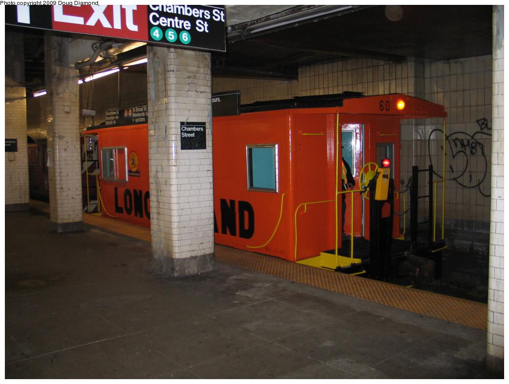(212k, 1044x788)<br><b>Country:</b> United States<br><b>City:</b> New York<br><b>System:</b> New York City Transit<br><b>Line:</b> BMT Nassau Street-Jamaica Line<br><b>Location:</b> Chambers Street<br><b>Car:</b> LIRR Caboose 60 <br><b>Photo by:</b> Doug Diamond<br><b>Date:</b> 4/4/2009<br><b>Viewed (this week/total):</b> 0 / 5046