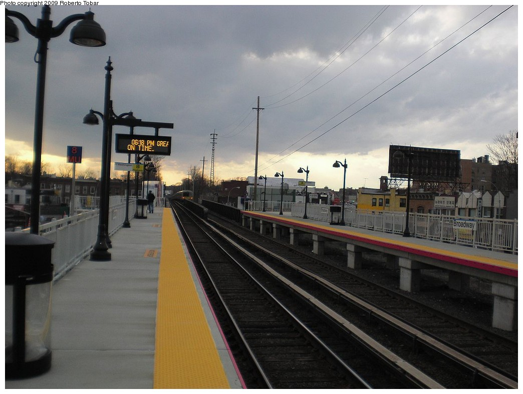 (217k, 1044x788)<br><b>Country:</b> United States<br><b>System:</b> Long Island Rail Road<br><b>Line:</b> LIRR Port Washington<br><b>Location:</b> Broadway<br><b>Car:</b> DPO-Inekon 12T 301 <br><b>Photo by:</b> Roberto C. Tobar<br><b>Date:</b> 4/8/2009<br><b>Viewed (this week/total):</b> 2 / 940